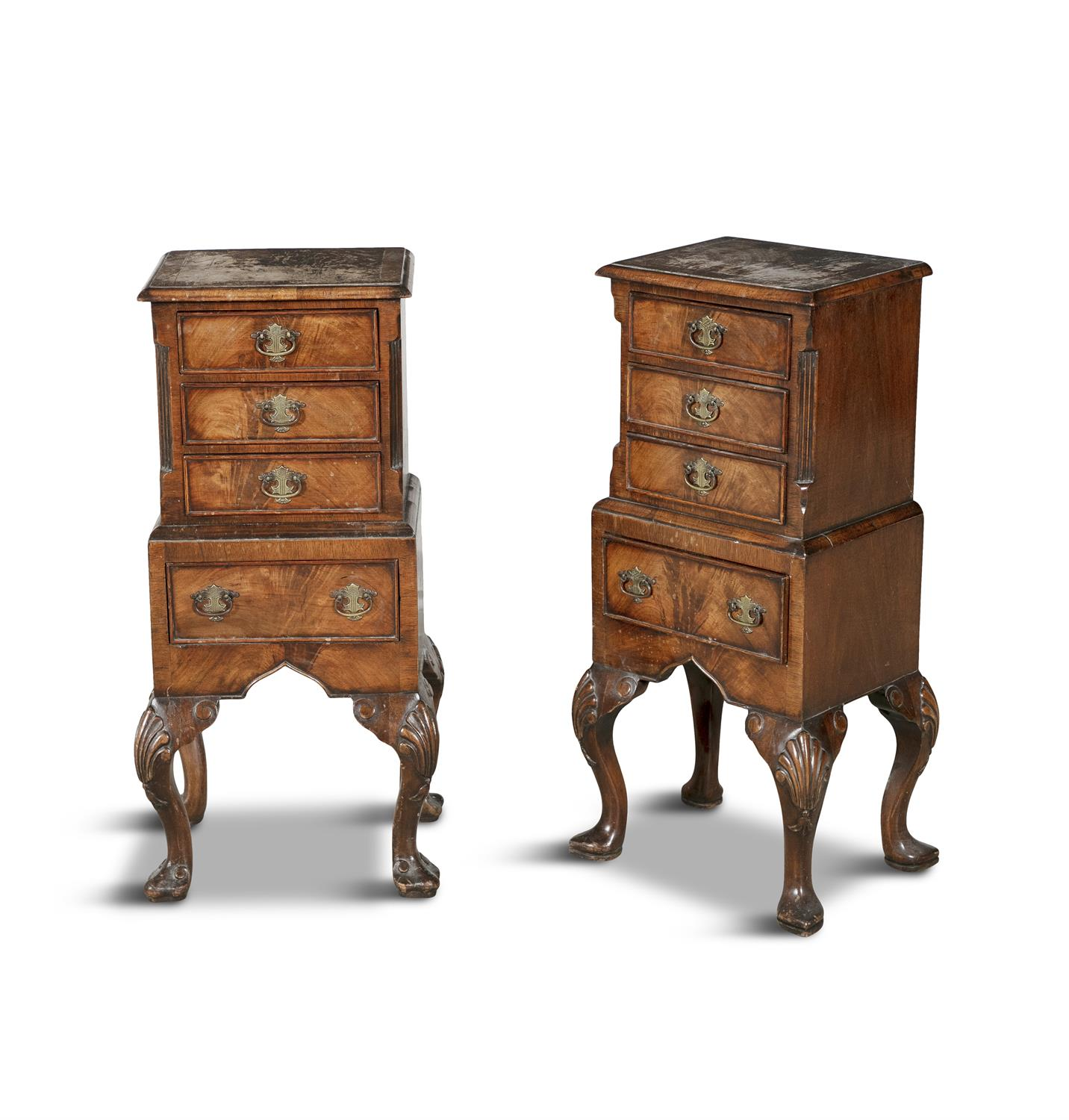 A PAIR OF 19TH CENTURY COMPACT MAHOGANY LOCKERS, in the form of miniature cabinets on stand, - Image 2 of 4