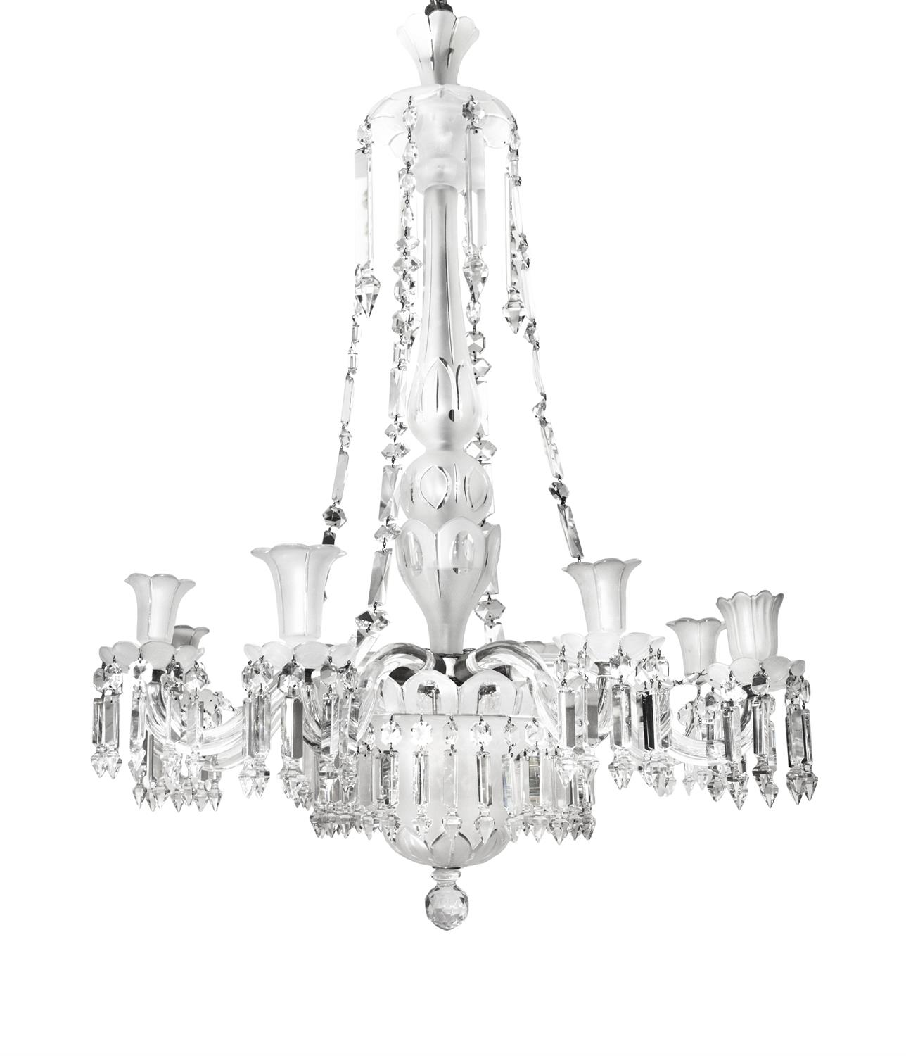 A LARGE CUT-GLASS EIGHT BRANCH CHANDELIER, 20th century, with frosted glass body and shades,