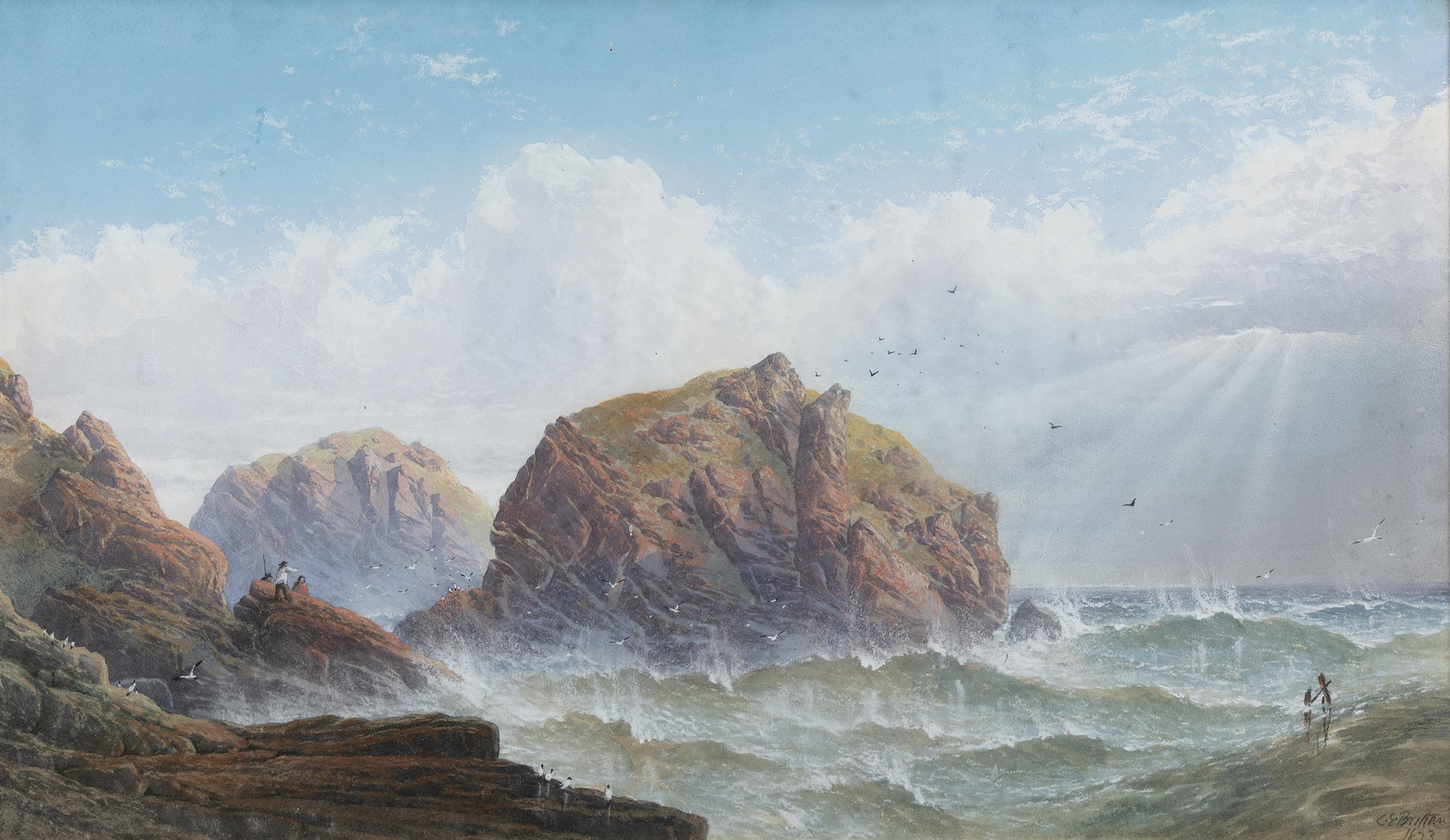 CHARLES E BRITTON (19TH CENTURY) Figures by a rocky coastline Watercolour, 33 x 59cm Signed and - Image 2 of 4