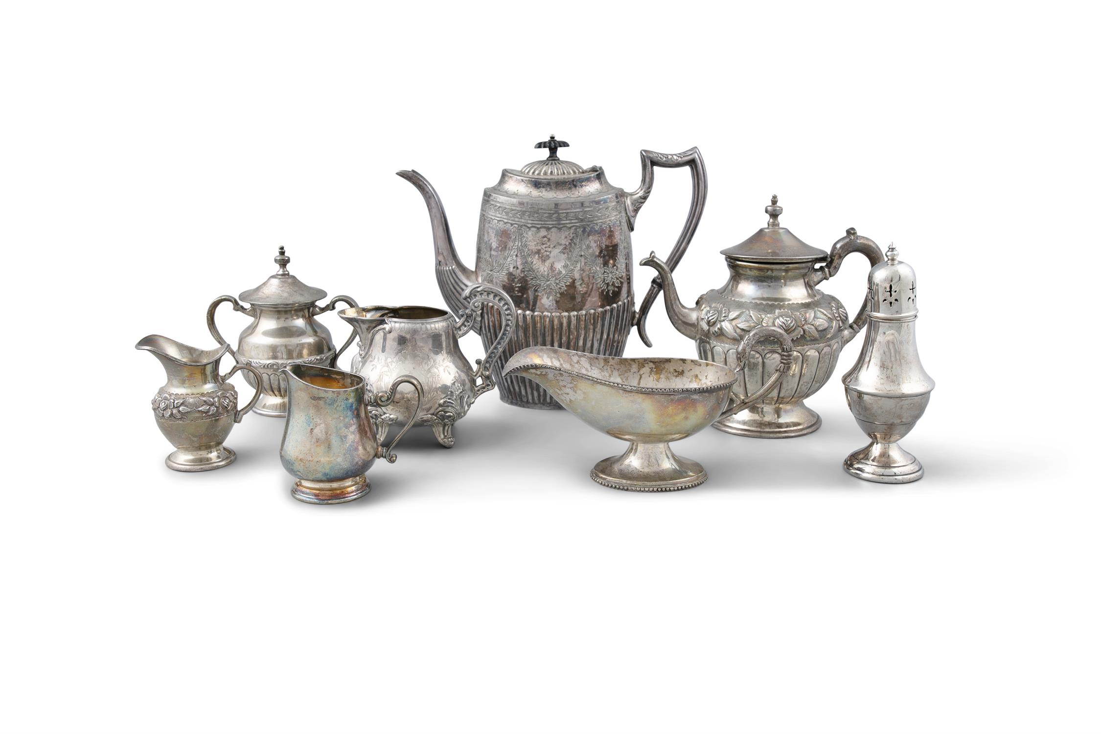 A LARGE ASSORTED COLLECTION OF SILVER AND SILVER-PLATED WARE, comprising a teapot of waisted form,