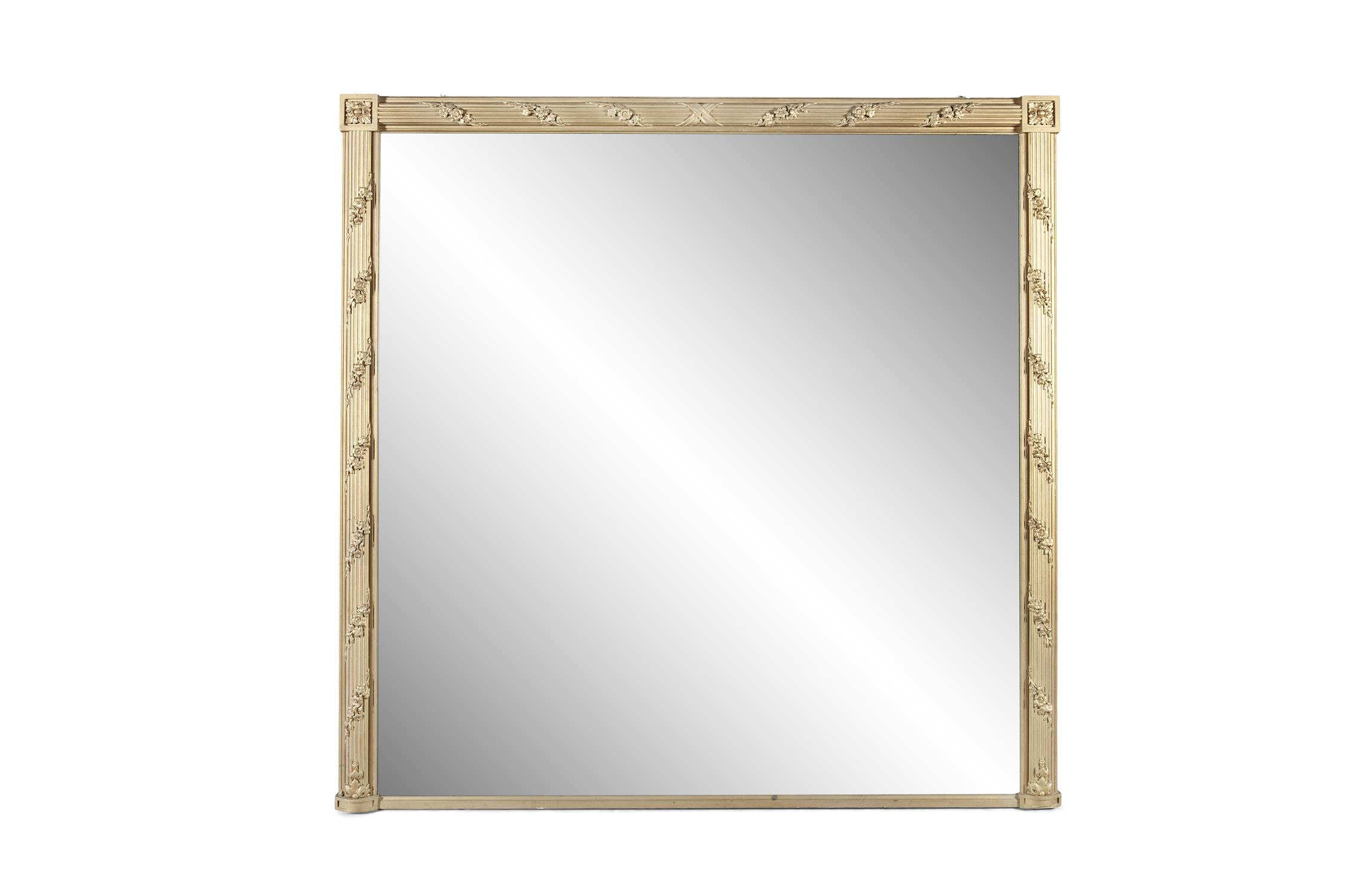 A LARGE GILTWOOD OVERMANTLE MIRROR, the square plate enclosed within a reeded frame wrapped with