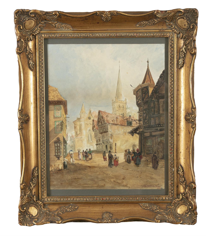 THOMAS P. BERTHOU (19TH CENTURY) Street Scene, Mayenne Watercolour, 31.5 x 24.7cm Signed,