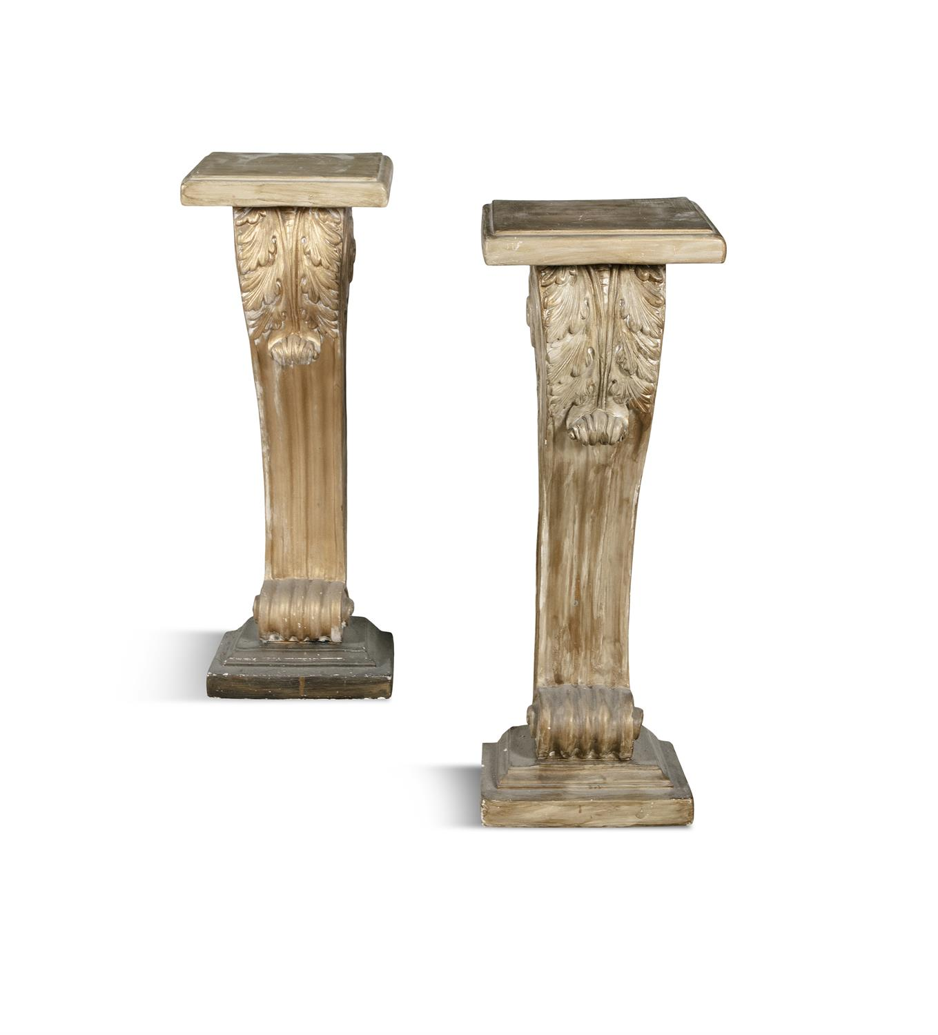 A PAIR OF MODERN PLASTER PILASTERS, painted gold. 81cm high, 28cm wide, 21cm deep
