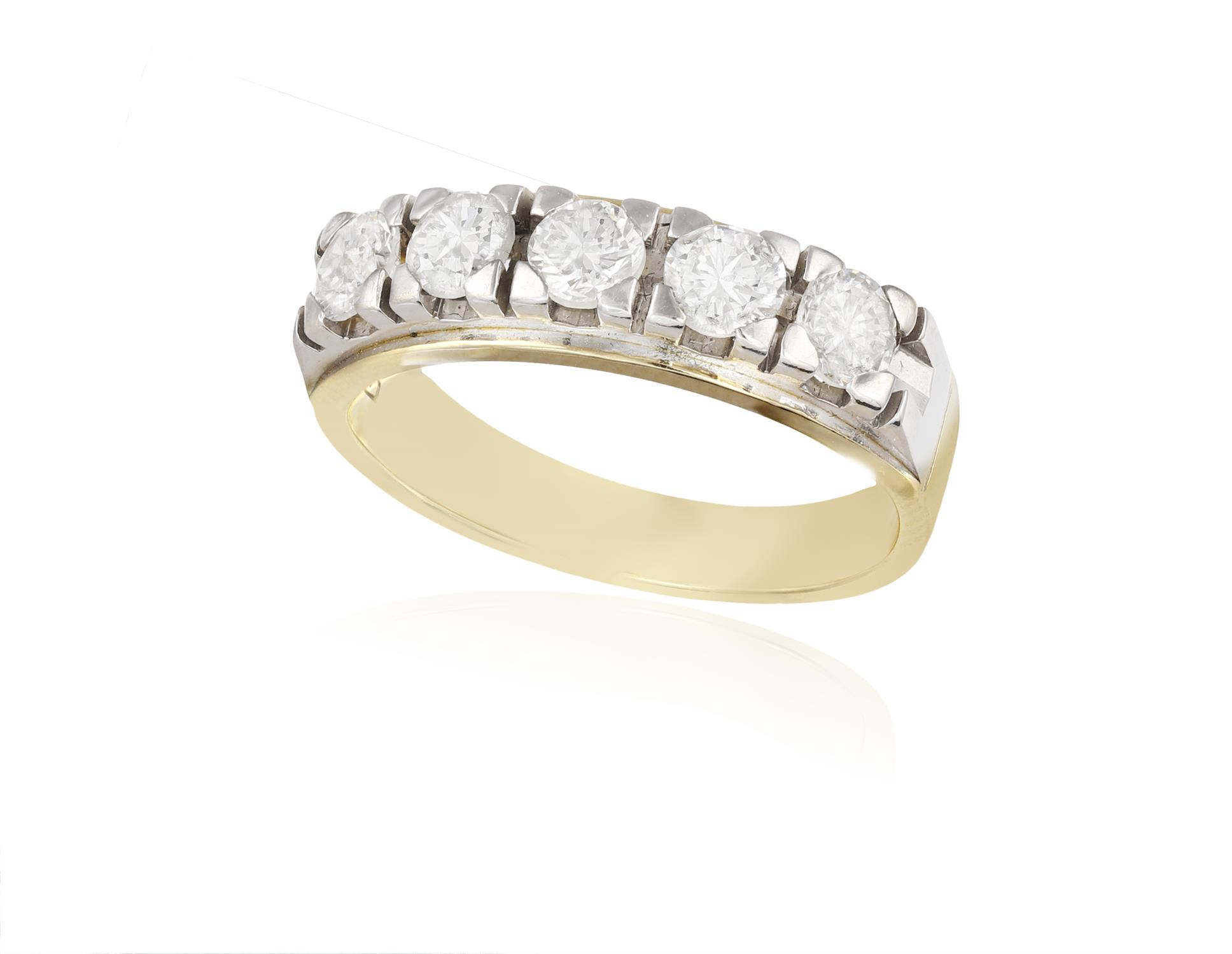 A DIAMOND HALF ETERNITY RING, composed of five brilliant-cut diamonds within four-claw setting,