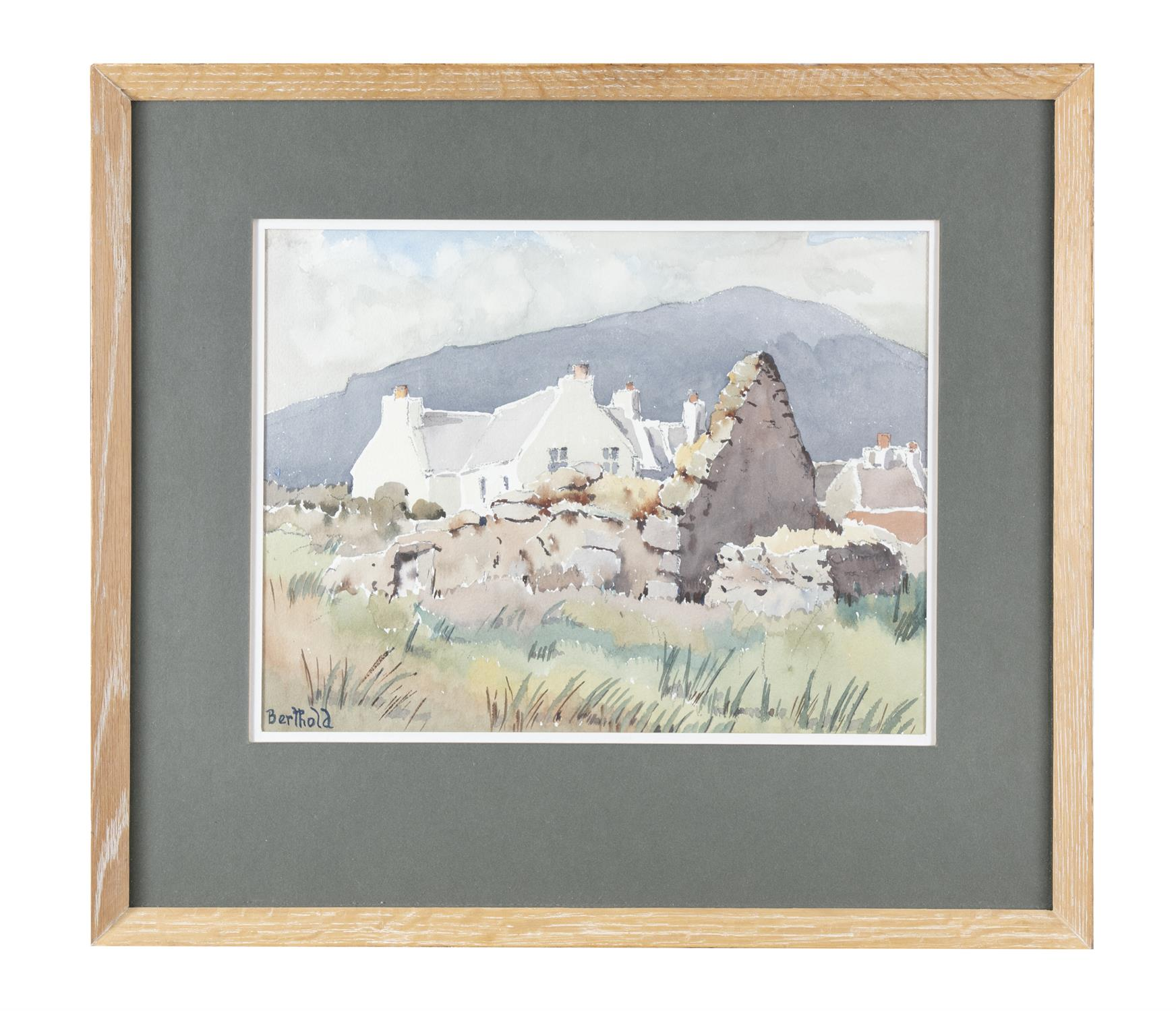 """BERTHOLD DUNNE Old Ruin, Keel, Achill Watercolour, 29 x 38.5cm (11.5 x 15"""") Signed; title"""