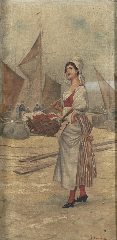 GARRINI (ITALIAN, 19TH CENTURY) The Lobster Vendor Oil on canvas, 51 x 24cm - Image 2 of 4