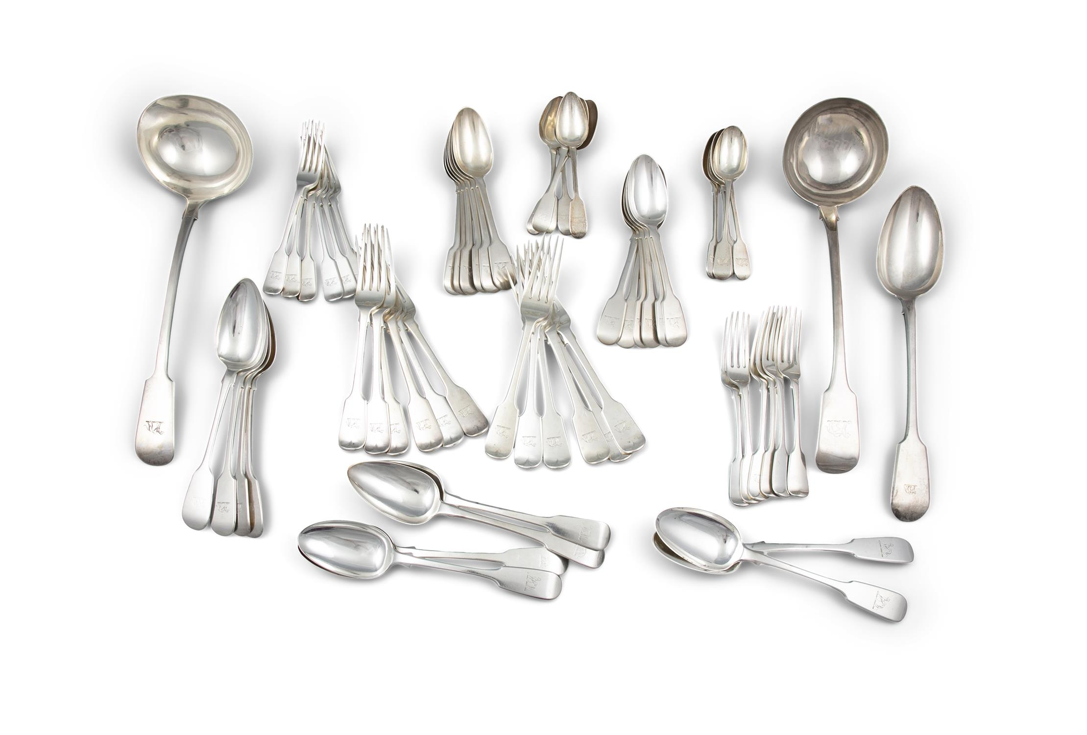 A MATCHED SET OF FIDDLE PATTERN SILVER FLATWARE, London, of various dates and makers,