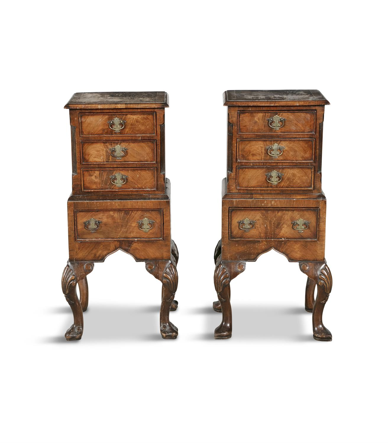 A PAIR OF 19TH CENTURY COMPACT MAHOGANY LOCKERS, in the form of miniature cabinets on stand,
