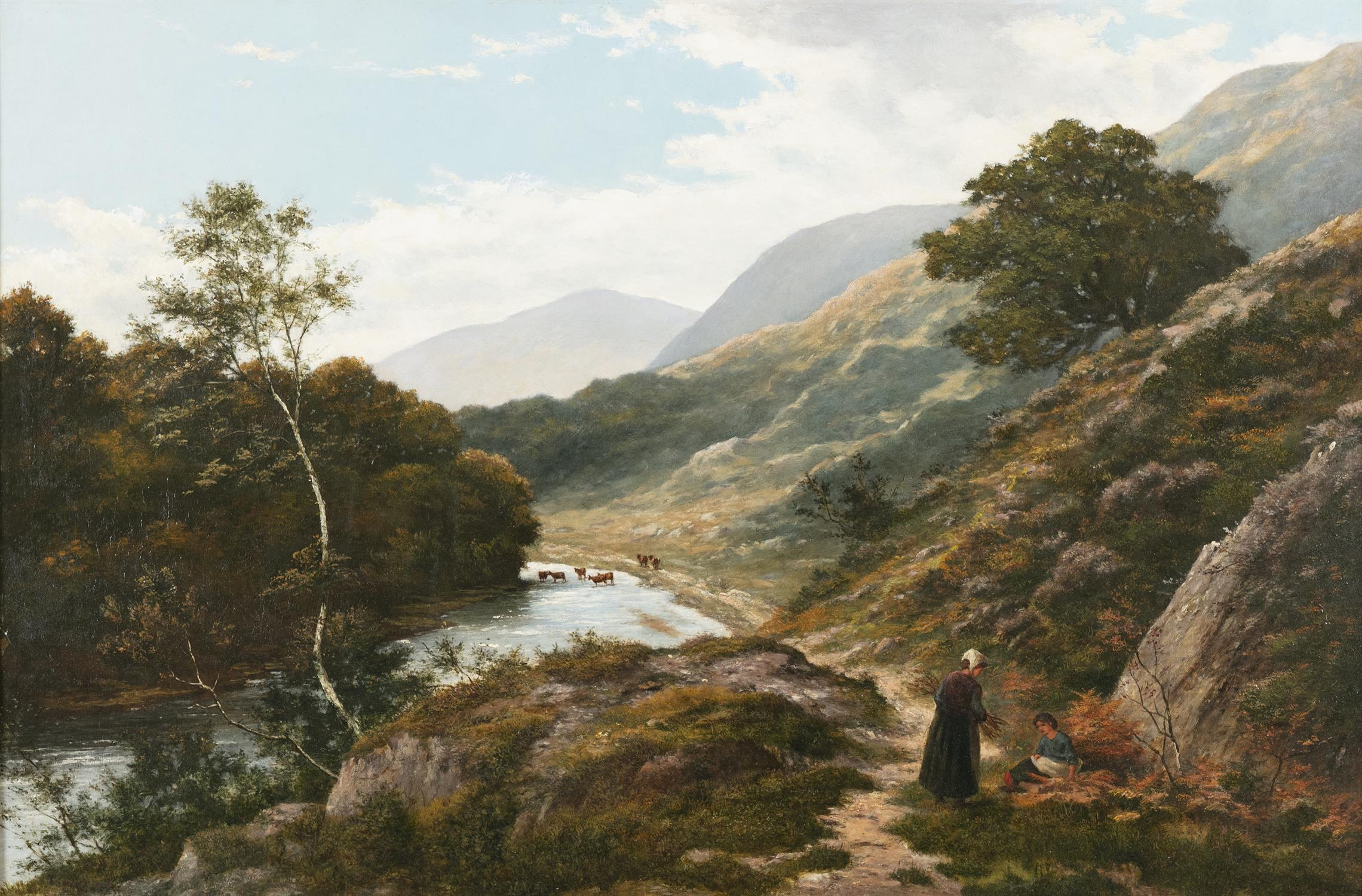 THOMAS SPINKS (1847-1927) Figures resting on a riverside path Oil on canvas, 60 x 91cm Signed - Image 2 of 2