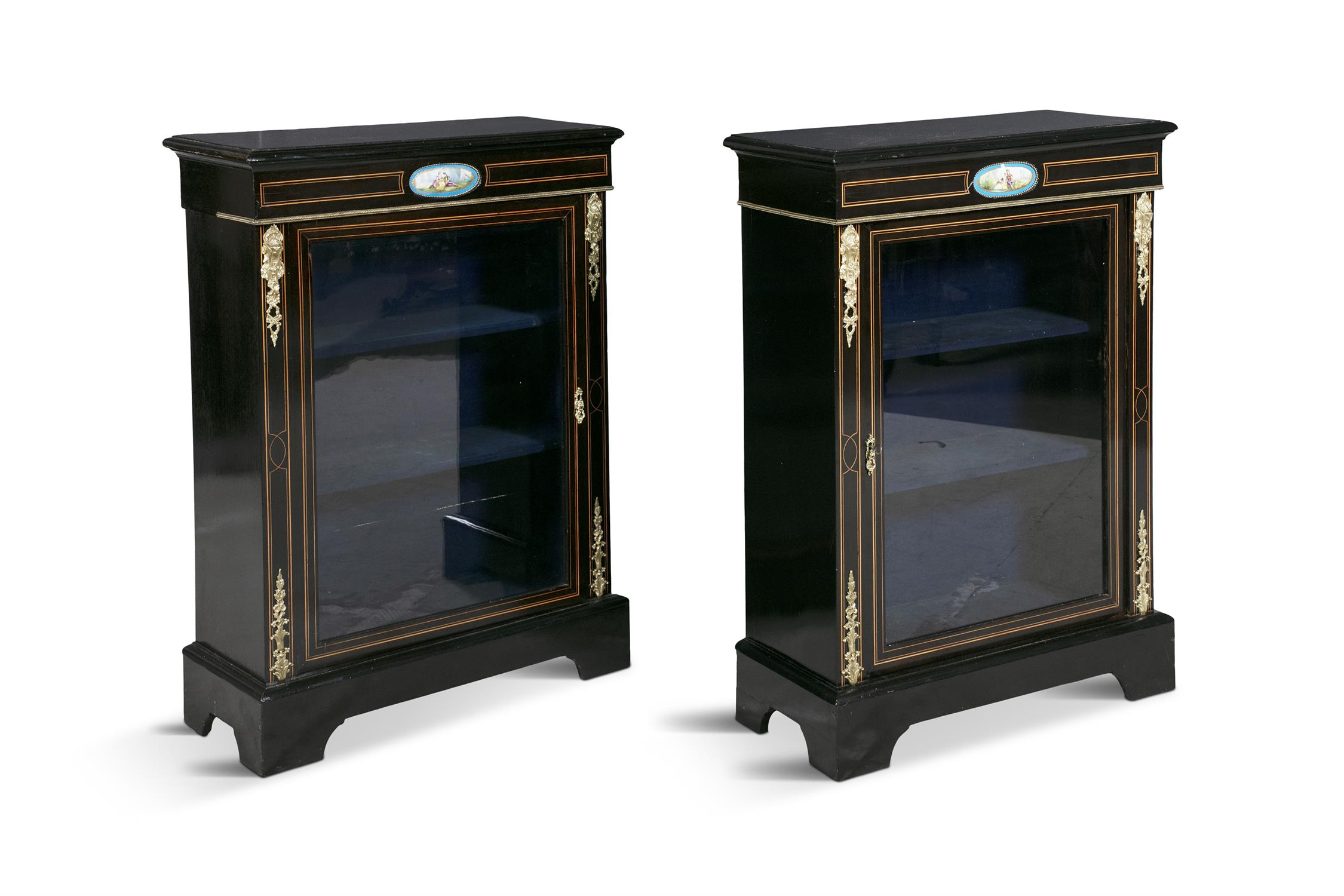 A PAIR OF 19TH CENTURY BRASS MOUNTED EBONISED CABINETS, of rectangular form, the tops with moulded - Image 2 of 2