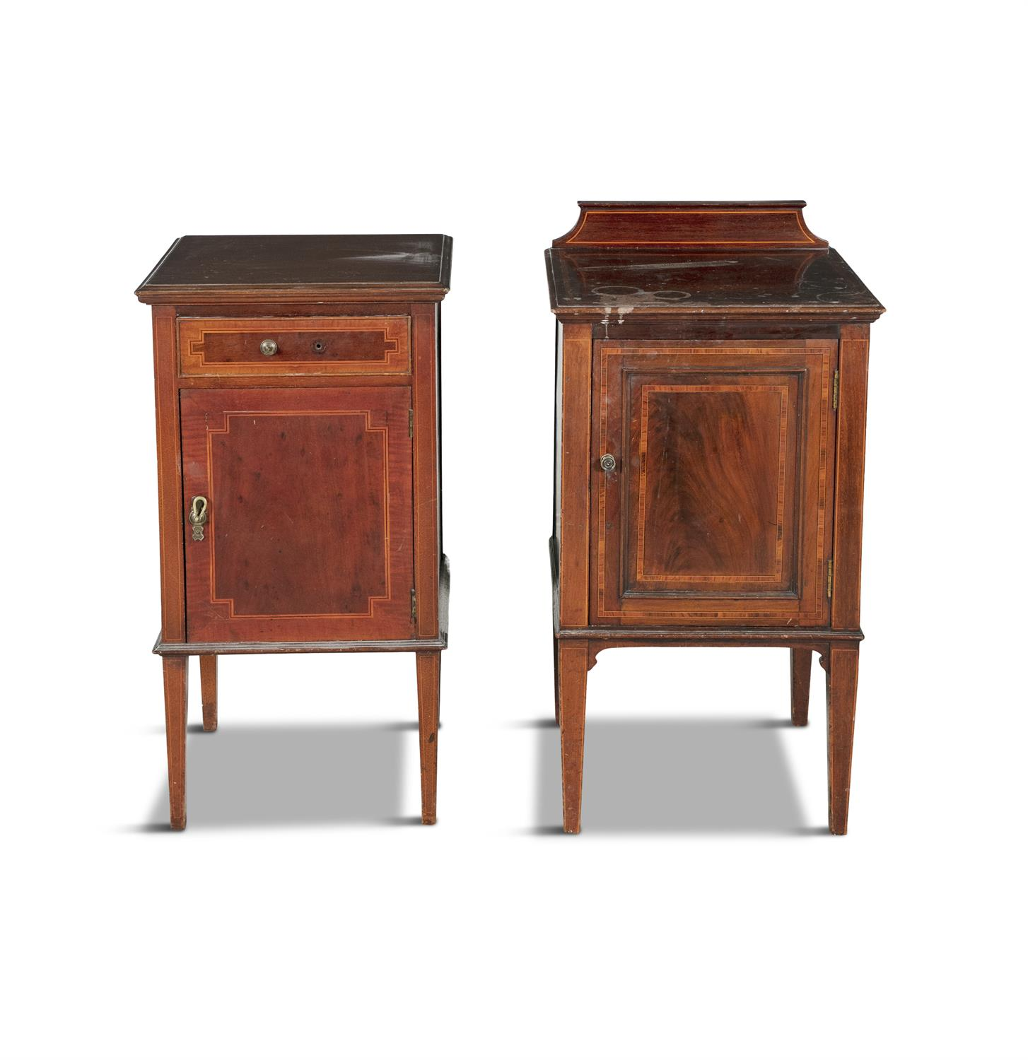 A PAIR OF 19TH CENTURY COMPACT MAHOGANY LOCKERS, in the form of miniature cabinets on stand, - Image 3 of 4