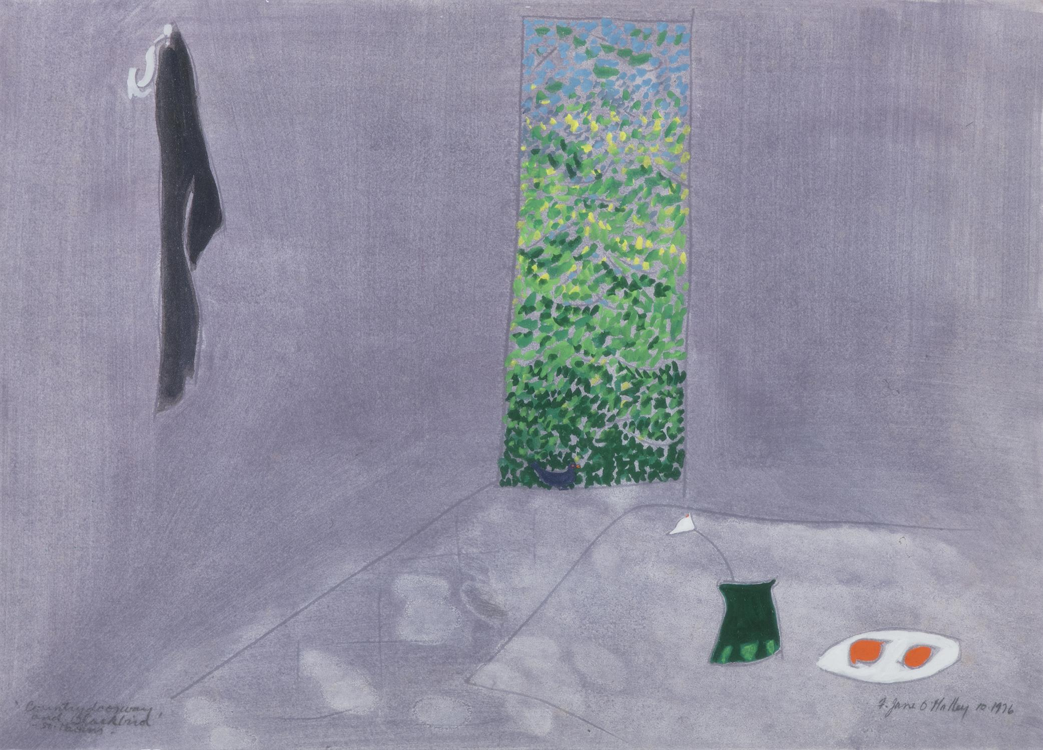Jane O'Malley (b.1944) Country Doorway and Blackbird, St. Martin's Mixed media on board,