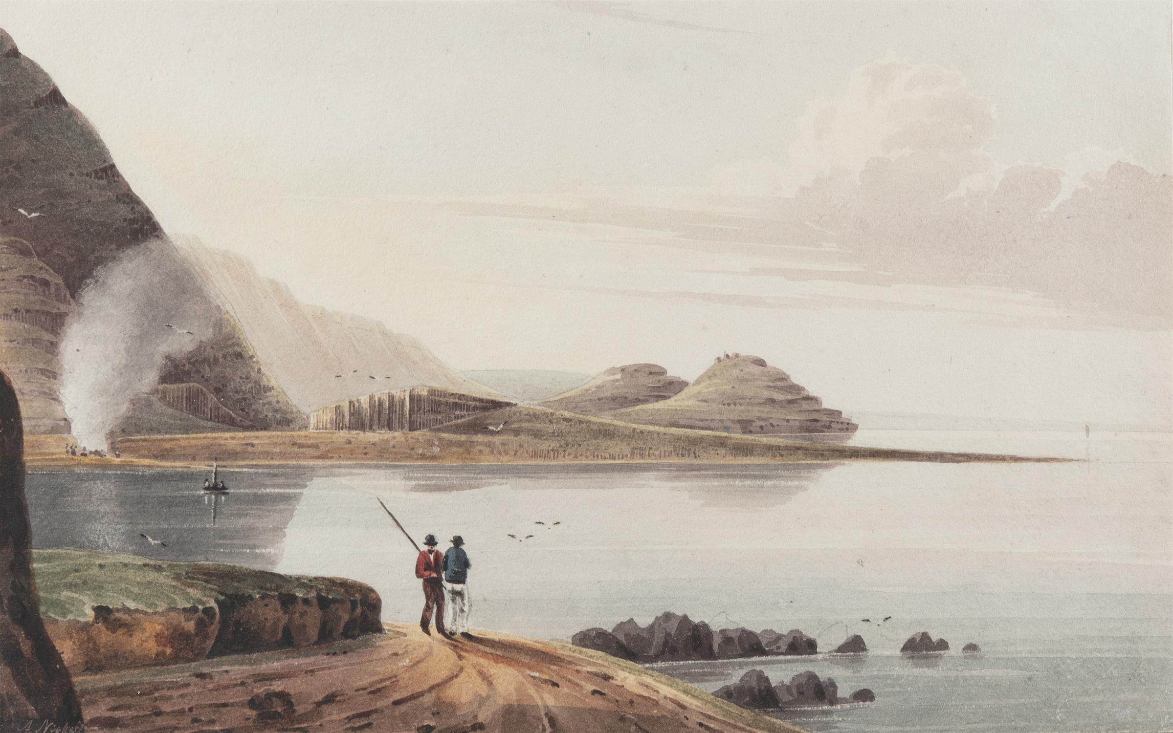 Andrew Nicholl RHA (1804-1886) From the East, Bay of Port Noffer; the 'Loom', 'Giant's Causeway'
