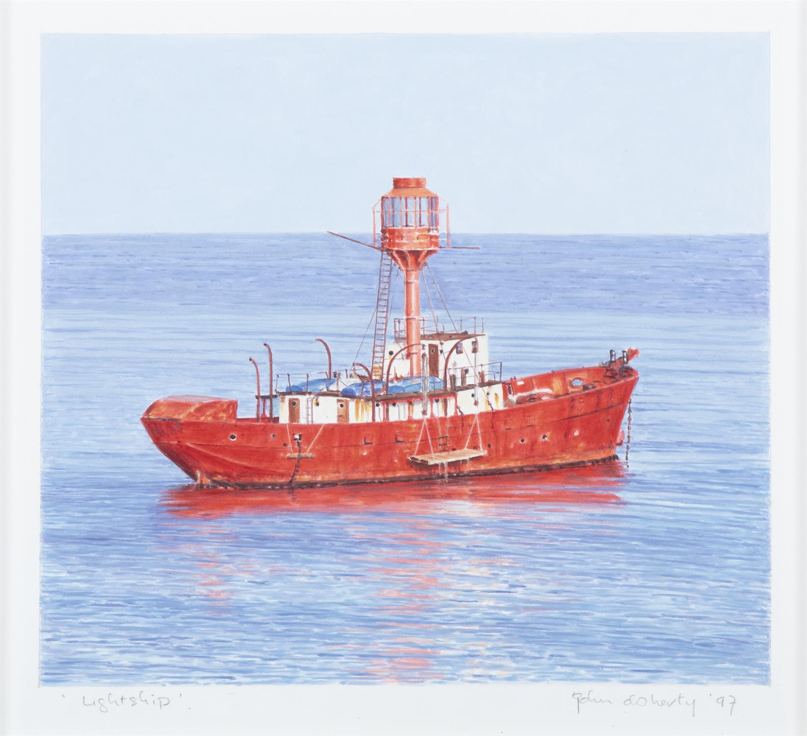 John Doherty (b.1949) Lightship Watercolour, 22.7 x 25.4cm (9 x 10'') Signed, inscribed and