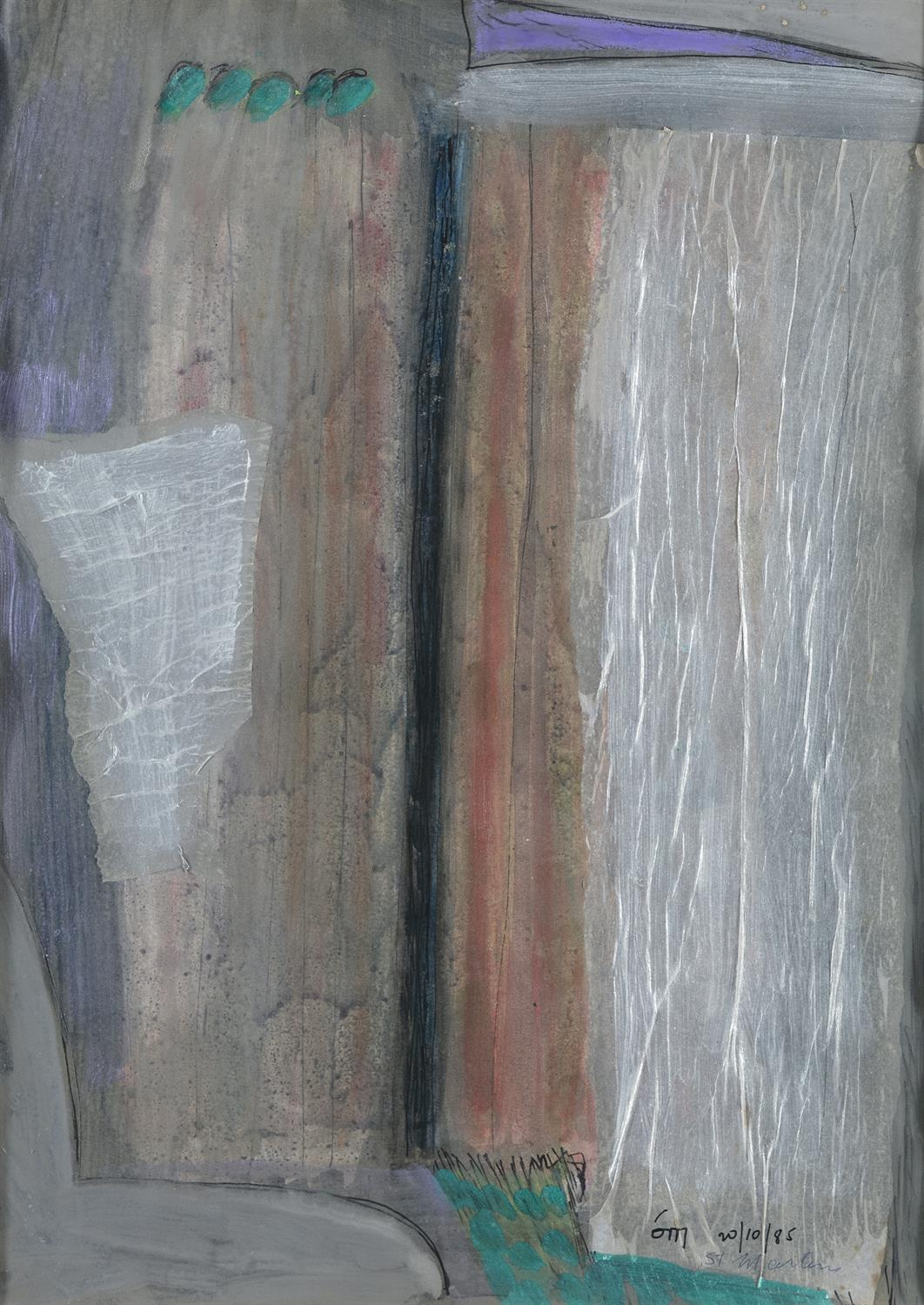 """Tony O'Malley HRHA (1913-2003) St. Martin Gouache and collage, 41.5 x 28.5cm (16¼ x 11¼"""") Signed"""