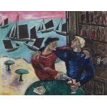 Basil Ivan Rákóczi (1908-1979) Two Friends Oil on paper, 40 x 51cm (15¾ x