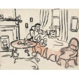 Gerard Dillon (1916-1971) Figure Resting with a Cat Watercolour, 20.5 x 26cm (8 x 10¼'') Signed