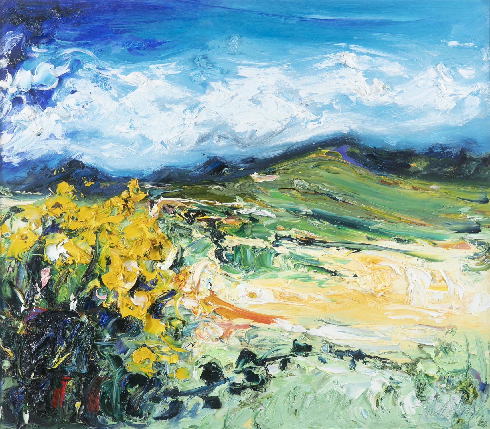 Michael Flaherty (b.1950) Yellow Flag, Brandon Mountain Oil on board, 60 x 68cm (23½ x