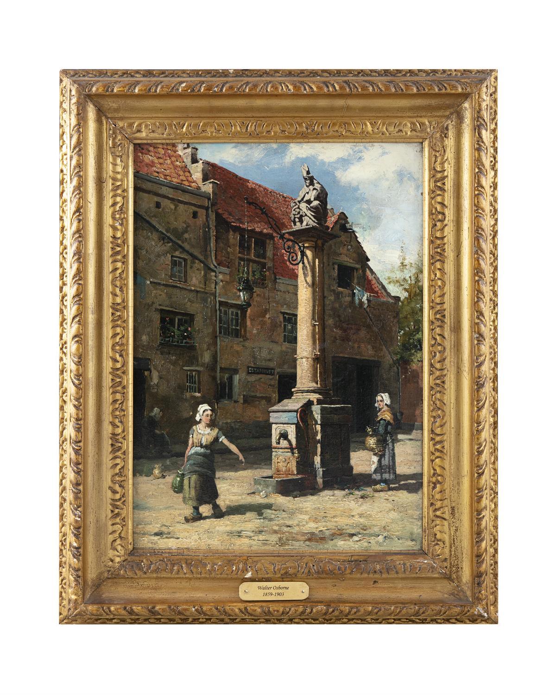 Walter Frederick Osborne (1859 -1903) The Pump of St Nicholas, Antwerp Oil on Canvas, - Image 2 of 4