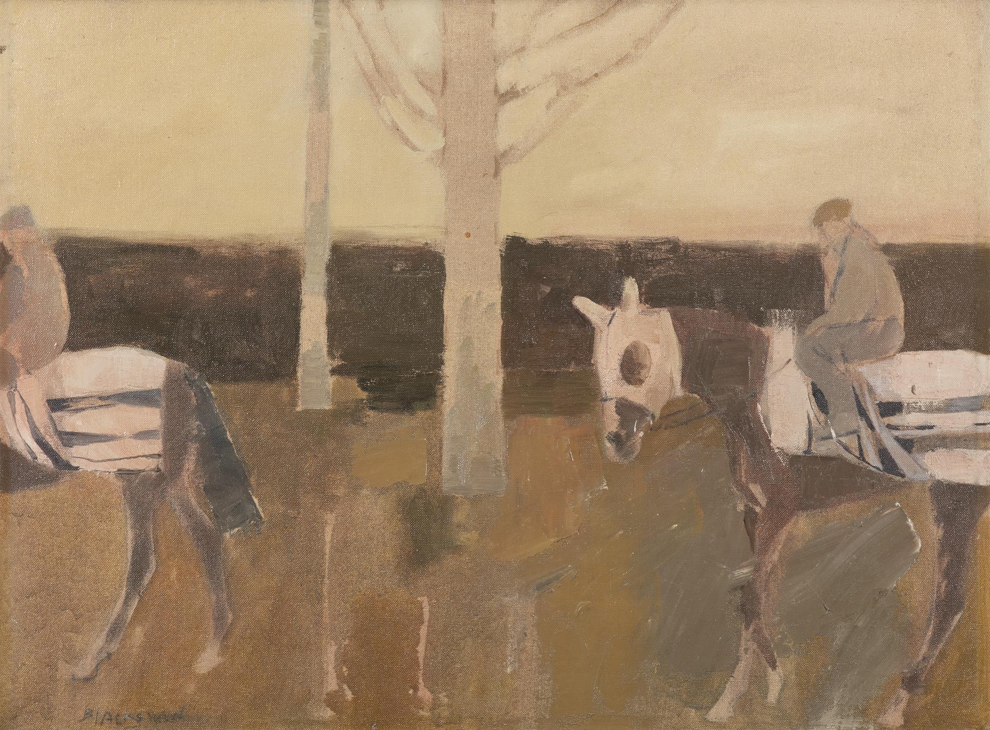 Basil Blackshaw HRHA RUA (1932-2016) Exercising Race Horses Oil on canvas, 45 x 60cm (17¾ x