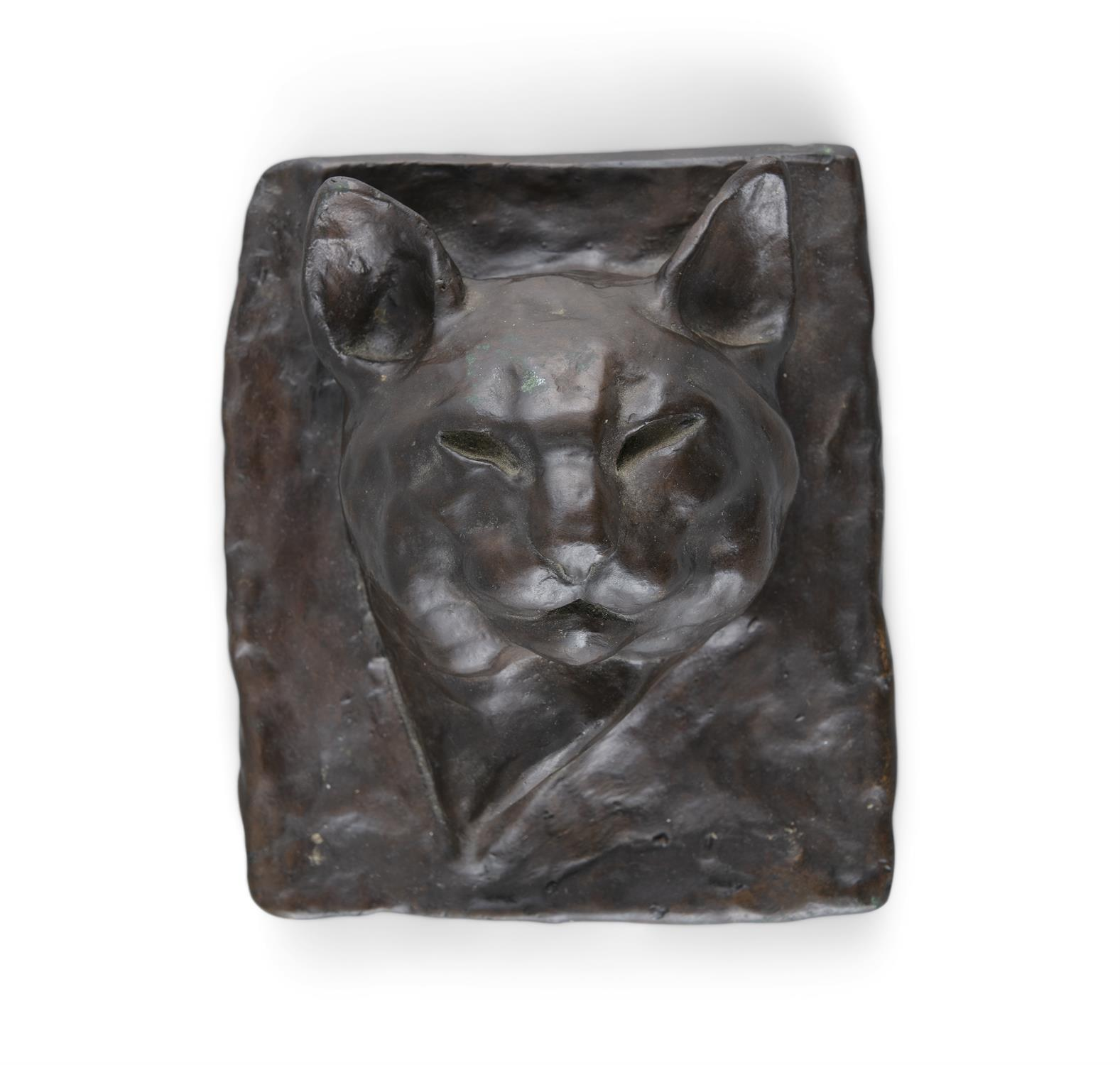 Melanie Le Brocquy HRHA (1919-2018) Cat Bronze, 17 x 14.5cm (6¾ x 5¾'') Signed and numbered 3/6
