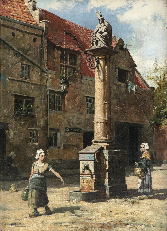 Walter Frederick Osborne (1859 -1903) The Pump of St Nicholas, Antwerp Oil on Canvas,