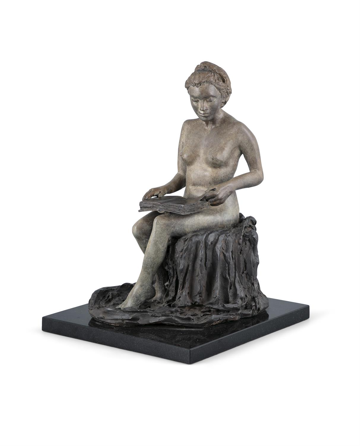 Paddy Campbell (b.1942) Girl Reading Bronze, 35.5 x 24 x 21.5cm (14 x 9½ x 8½'') Signed and - Image 2 of 4
