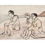 Gerard Dillon (1916-1971) Three Men by the Shore Watercolour and ink, 18 x 22.5cm (7 x