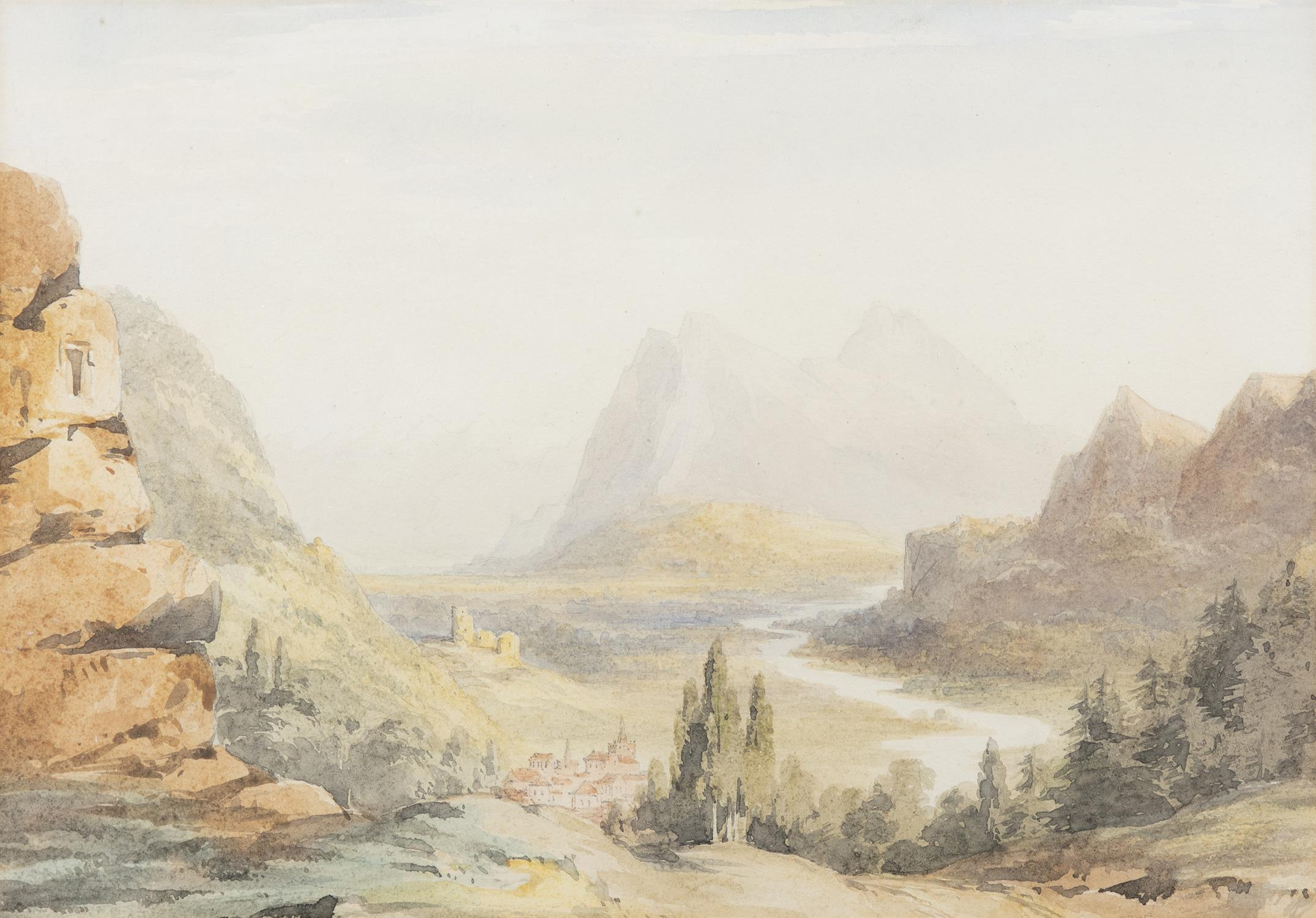 Frederick Marquis of Londonderry 'View Near Achnacarry' and 'View Near Ragatz' Three watercolours, - Image 4 of 8