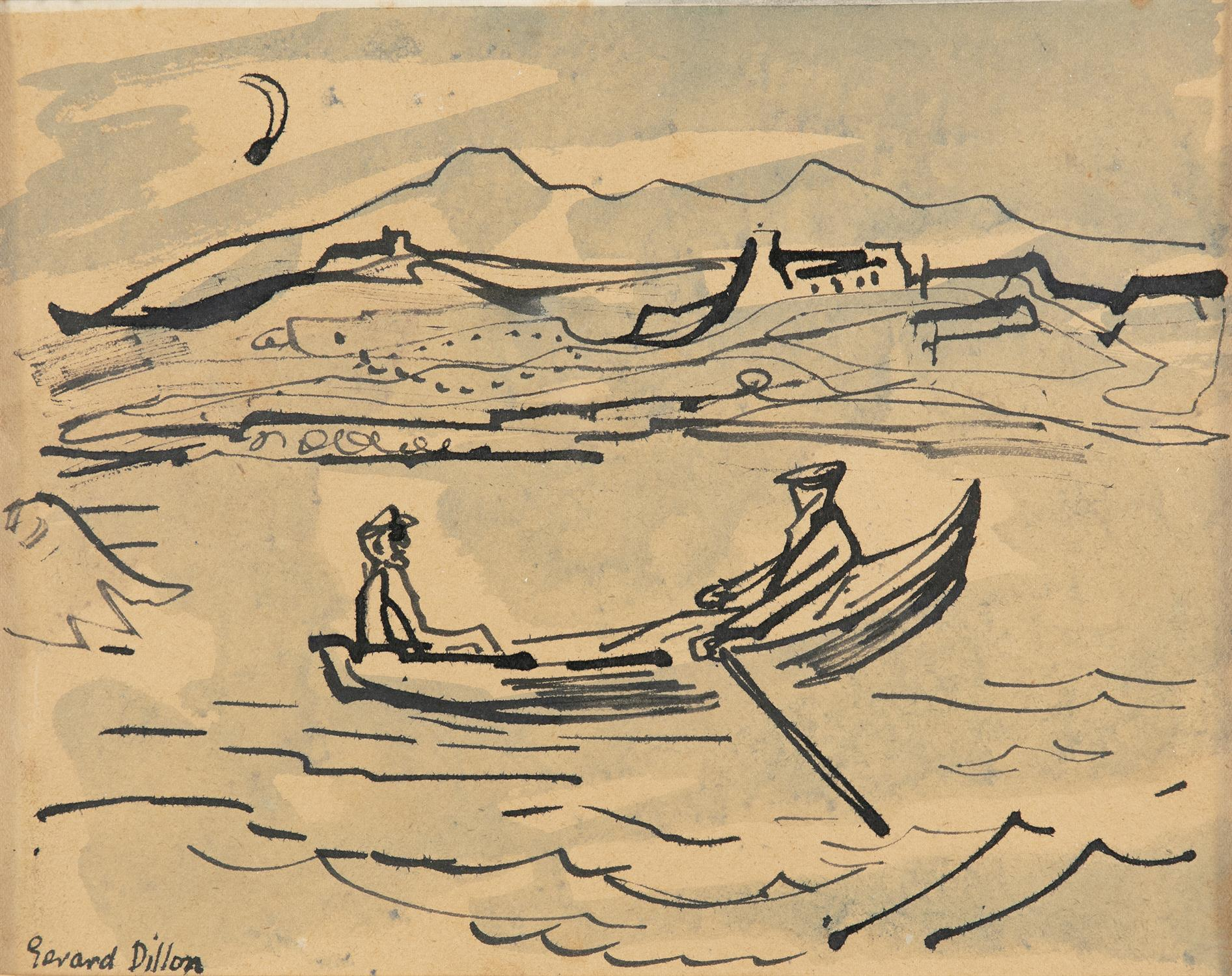 Gerard Dillon (1916-1971) Two Figures in a Currach Watercolour, 17.5 x 22.5cm (6¾ x 8¾'') Signed