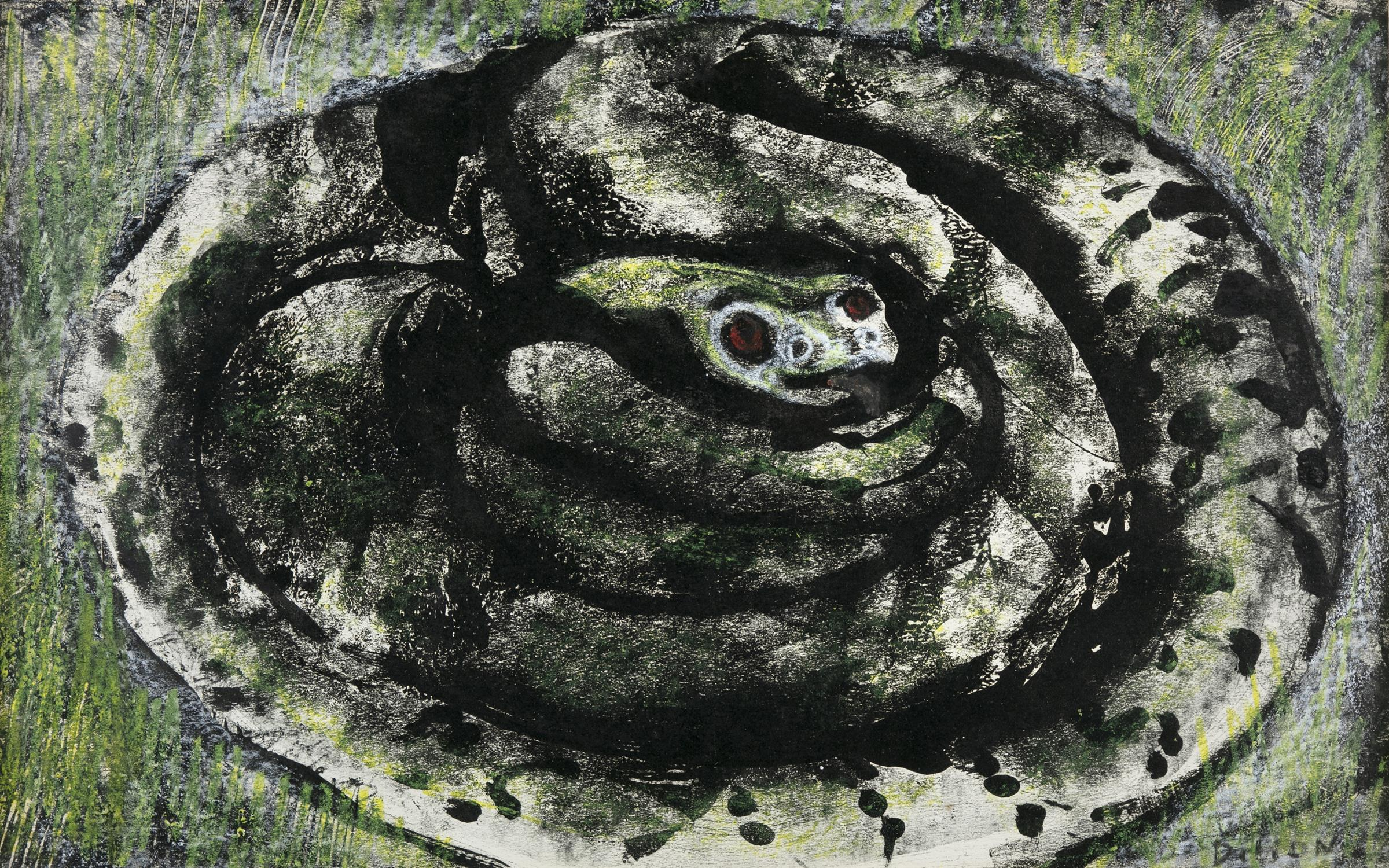 """Gerard Dillon (1916-1971) Snake Mixed media, 29 x 46cm (11½ x 18"""") Signed Provenance: With"""