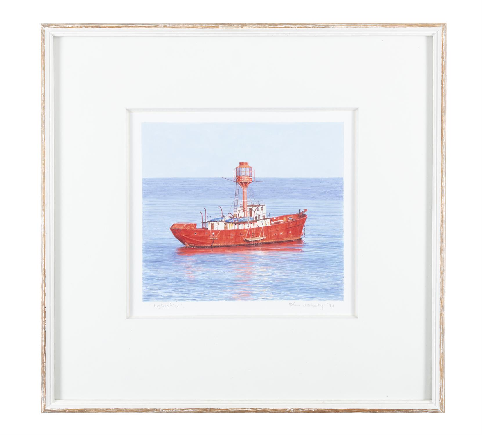 John Doherty (b.1949) Lightship Watercolour, 22.7 x 25.4cm (9 x 10'') Signed, inscribed and - Image 2 of 5