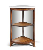 A 19TH CENTURY ROSEWOOD OPEN CORNER CABINET, by Gillows, with white marble top above two open shelv