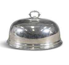 A SILVER PLATED DISH COVER, with cast loop handle and gadrooned rim