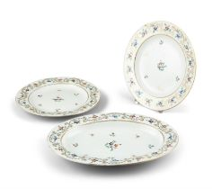 A SUITE OF THREE DERBY PORCELAIN PLATES, 19th Century, two circular and one oval,
