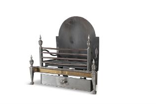 A BRASS AND POLISHED STEEL FOUR BAR FIRE GRATE, 19th century, with arched cast iron back plate and