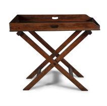 A VICTORIAN MAHOGANY BUTLER'S TRAY ON STAND, the galleried tray with pierced side handles,