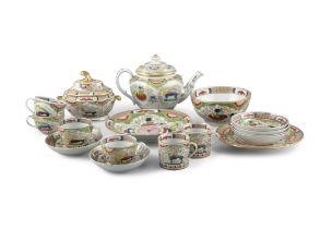 A COALPORT 'DRAGONS IN COMPARTMENTS' PATTERN PART TEA SERVICE, 19th Century, comprising teapot,