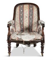 AN IRISH WILLIAM IV MAHOGANY TUB BACK ARMCHAIR, by Williams and Gibton, the arched spoon back with