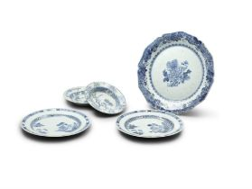 A NANKING SHAPED CIRCULAR TUREEN STAND; together with two further 18th Century blue and white