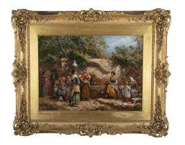 ARTHUR TREVOR HADDON ( 1864- 1941) Spanish Ladies at a Well Oil on canvas, 48x