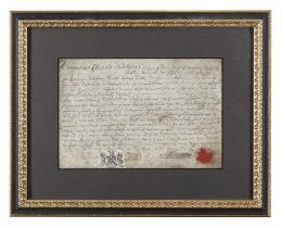 LORD SPENCER, c. 1812 A manuscript legal document signed and sealed with printed crest,