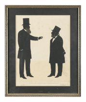 TWO 19TH CENTURY SATIRICAL PRINTED SILHOUETTES, each titled 'Men on Change' and 'Not a Fit Subject