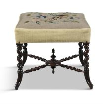 A VICTORIAN ROSEWOOD STOOL, with barley twist legs and tapestry panel seat. 46cm high x 52 x 50cm