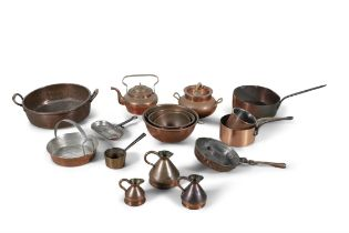 AN INTERESTING COLLECTION OF 19TH AND 20TH CENTURY KITCHEN COPPERWARE, including circular preserve