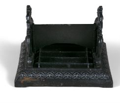 A 19TH CENTURY CAST IRON FOOT SCRAPER, possibly Coalbrookdale, with opposing ho-ho birds and later