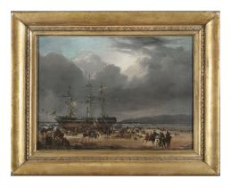 MANNER OF PHILIPPE DE LOUTHERBOURG (1740-1812) Troops Disembarking from a Beached Sloop; Hulk on a