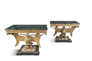 A PAIR OF 19TH CENTURY GEORGE III STYLE GILTWOOD CONSOLE TABLES, in the manner of William Kent,