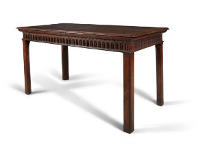 A GEORGE III MAHOGANY SERVING TABLE, C.1780, with thumb moulded top, the arcaded friezes,