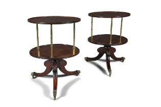 A PAIR OF IRISH REGENCY MAHOGANY AND BRASS CIRCULAR DUMBWAITERS, each with two circular dished